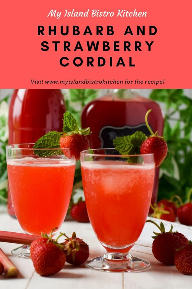 Pair of glasses filled with Rhubarb and Strawberry Cordial