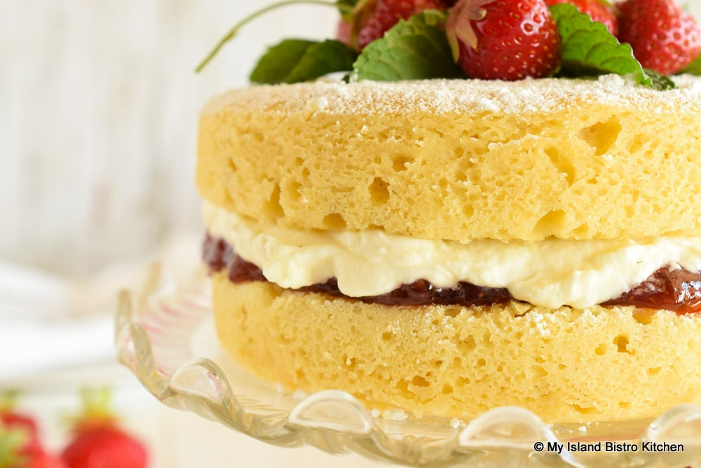 Sponge Cake filled with jam and whipped cream
