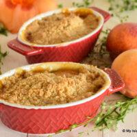 Individual servings of peach dessert