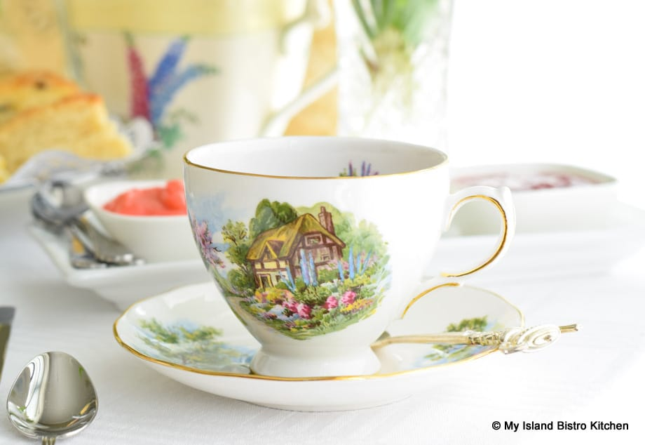 Cup and Saucer with English Country Cottage pattern