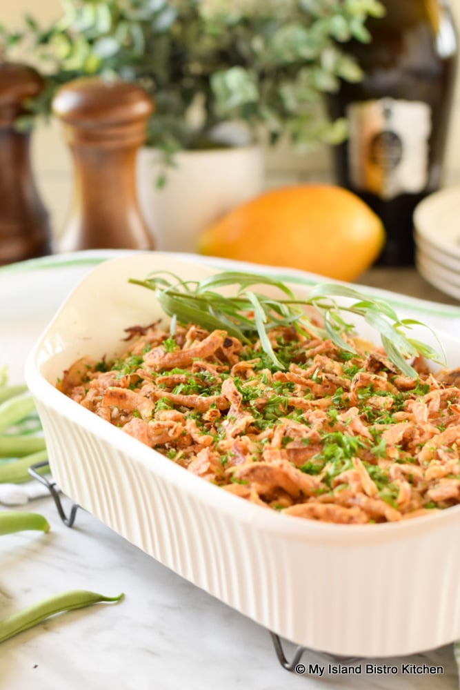 Side dish casserole made with green string beans