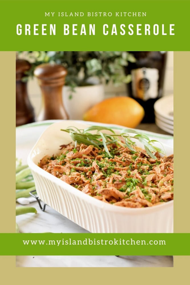 Side dish casserole made with green beans and Crunchy Onion Toppers
